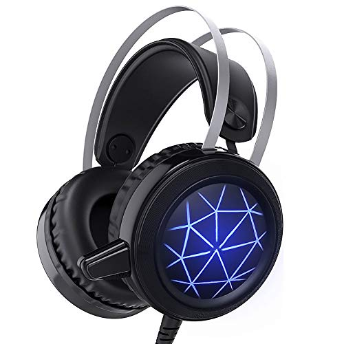 YOUMI Gaming Headset Für PS4, Wired Gaming Headset PC-USB-3,5-Mm-Kopfhörer Mit 50 Mm-Treiber, Beexcellent Comfort Noise Reduction Kristall Clarity LED Mit Mic Für PC Laptop Tablet Smart-Phone