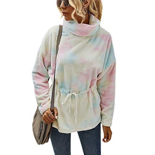 Timagebreze Mode Sweatshirt Herbst Winter Rollkragen Krawatte Farbstoff Pelz Frauen Taille Slim Sweatshirt Tunika Pullover Sweatshirt Rosa L.