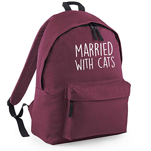 Married with Cats Funny Backpack Rucksack Dimensions: 31 x 42 x 21 cm Capacity: 18 litres Ruck Sack-Small-Maroon