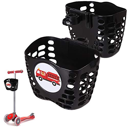 MINI-FACTORY Kid's Scooter Basket, Cute Cartoon Pattern Scooter Accessories Front Carrying Basket for Boy - Black (Fire Truck)