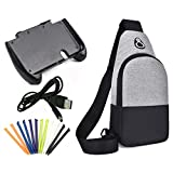 Akiimy 4 In 1 Crossbody Shoulder Bag+Plastic Gamepad Controller Hand Grip Holder Joypad Stand +12-Pack New 3DS XL Stylus Pack+Usb Charger Cable For New Nintendo 3DS LL/New 3DS XL Travel Accesosry