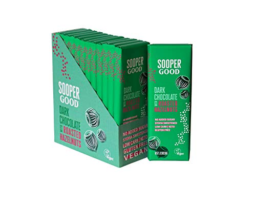 Sugar Free and Vegan Dark Chocolate Bars by Soopergood – Keto Friendly - Low Carb - Gluten Free - 65% Cacao with roasted hazelnuts – Sweetened with Stevia – Box of 12 x 40g