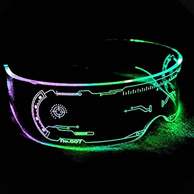 VICABO Halloween Cyberpunk Goggles LED Tron Visor Glasses Cosplay Festivals Cybergoth (Multi-Colored)