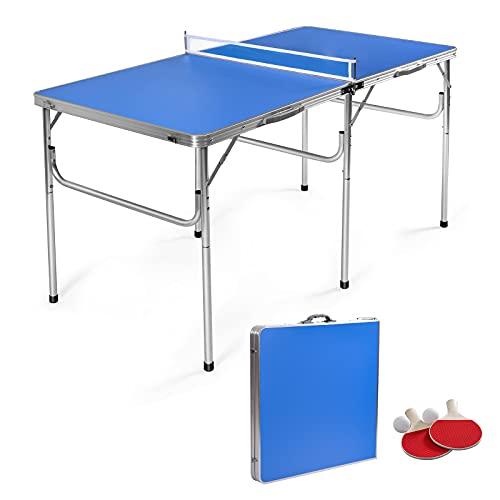 COSTWAY Tischtennisplatte mit Netz, 2 Schlägern und 2 Bällen, Tischtennistisch klappbar, Tischtennis Platte mit Griff, Campingtisch Metallrahmen 152,5 x 76 x 76 cm