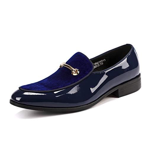 RSHENG Mens Horsebit Loafers handgefertigte Business Schuhe Kleid Gentleman Schuhe Driving Schuhe Wanderschuhe für Treffen heiraten-blue-40EU