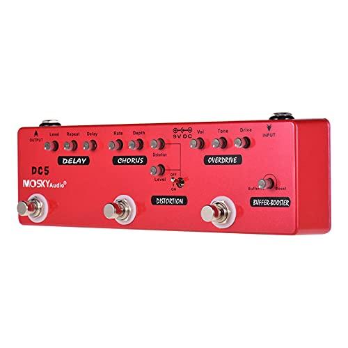 DC5 6-em-1 Guitarra Multi-efeitos Atraso no pedal + Coro + Distorção + Overdrive + Booster + Buffer Full Metal Shell com True Bypass