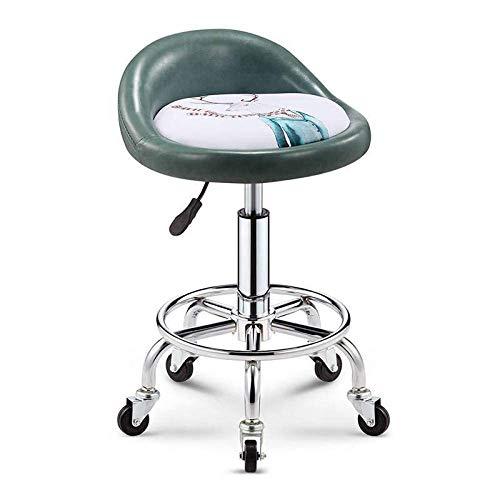 Taburete de barbero , Silla de taburete de salón en rueda, taburete de oficina ajustable con patrón de alces en el asiento de cuero sintético blanco, altura ajustable 47-59 cm, peso soportado 160 kg,