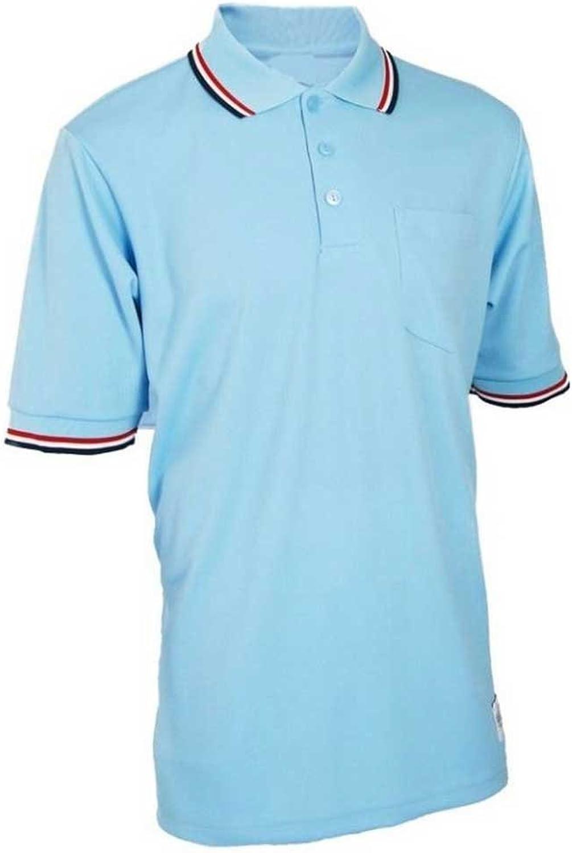 Adams USA Short Sleeve Baseball Umpire Shirt - Sized for Chest Predector, Mens, Adams Umpire Shirt BBSB Short Sleeve Wicking Poly XL PB SC WH, ADMBB300-XL-PBRW, Powder blueee Scarlet, X-Large