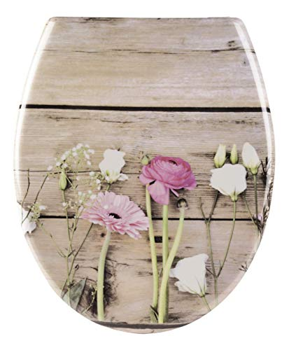 Calmwaters® WC Sitz Blumen-Motiv Wild Flower mit doppelter Absenkautomatik, antibakteriell, abnehmbar, Duroplast Toilettensitz, Schnell-Befestigung, universaler O-Form Klodeckel, 26LP5390