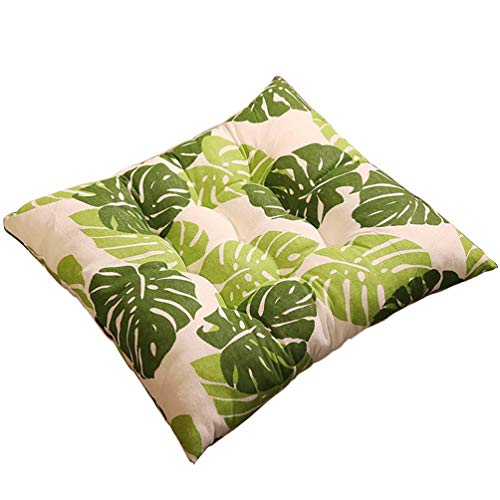 Zerxi Thick Printed Chair Cushion 40 x 40 cm Square Seat Pad Soft Breathable Back Cushion 16 x 16 Inch with Fixable Strap Buckle for Office Dining Classroom Garden Outdoor (Leaf #1)