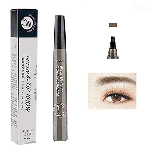 4 stylo de tatouage de crayon à sourcils bifurqué ne tache pas le crayon à sourcils liquide étanche à l'eau et à la transpiration (4# gris brun)