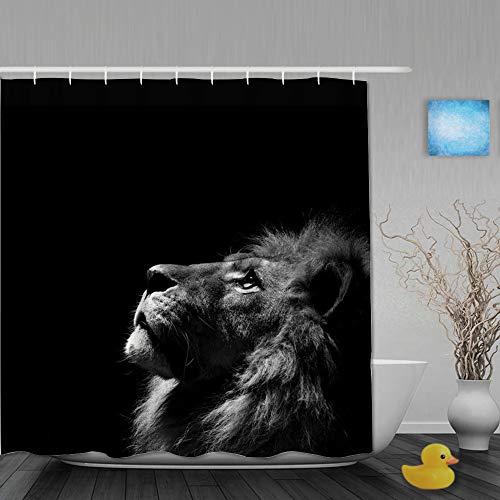 AYISTELU Duschvorhang,Schwarzweiss-Schwarzweiss-Fotografie des Löwen auf schwarzem Hintergrund künstlerisch und natürlich,Stoff Badezimmer Dekor Set mit Kunststoffhaken, enthalten - 180x180cm