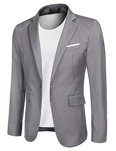 COOFANDY Men's Casual Blazer Jacket Slim Fit Sport Coats Lightweight One Button Suit Jacket (Light Grey, X-Large)
