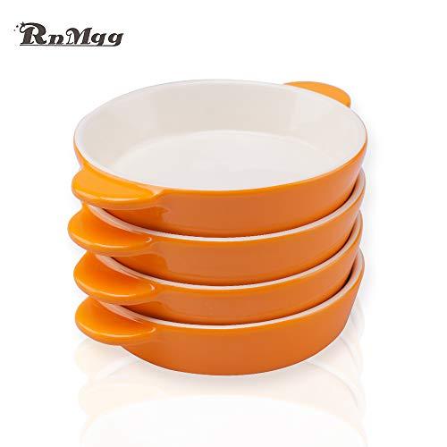 RnMgg 9oz Ceramic Bakeware Set of 4 circular orange Baking Dish Lasagna Pans set,Used in cakes desserts chicken