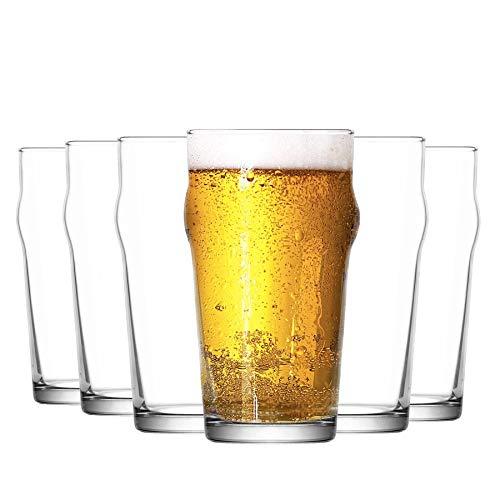 La-V Pintes Nonic à bière - Arrondi sur Le Haut - Verre Classique de pub Anglais - 570 ML - Lot de 6