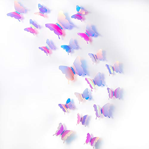 BBTO 48 Pieces DIY Mirror Butterfly Combination 3D Butterfly Wall Stickers Decals Home Decoration