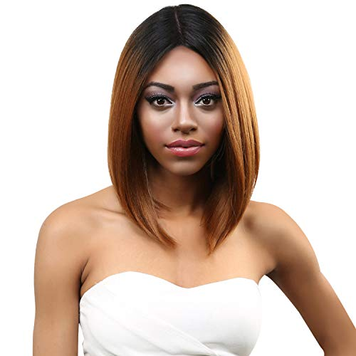 The Stylist Synthetic Lace Front Wig Swiss Lace Silk Top Savvy Bob (1B)