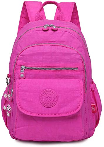 SITCO Lightweight Nylon Backpack Travel Schoolbag Laptop College School Backpack Shoulders Bag Rucksack Travel Daypack 1503-grey (1503-rose Red)