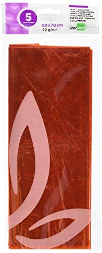 Papel Celofan Liderpapel CL12 50X70 Cm 22G/M2 Bolsa De 5 Hojas Naranja