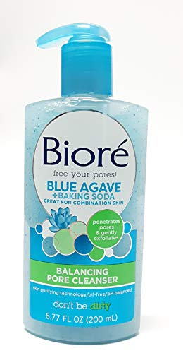 Biore Blue Agave Baking Soda Pore Cleanser, 6.77 Fluid Ounce (Pack of 3)