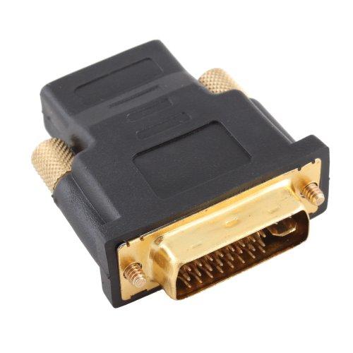 BuyinCoins - Adattatore da HDMI femmina a Dvi-I maschio 24+5, placcato in oro