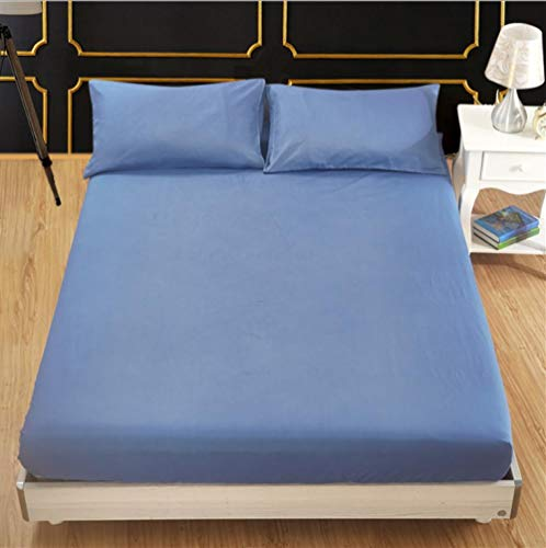 N / A Super Soft Bed Sheet,Hotel solid color brushed sheets, non-slip protective cover for boys' bedroom, suitable for single double king size bed-blue_140cm×190cm+35cm
