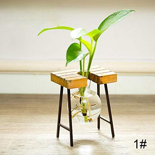 TUA - Jarrón de mesa con flores creativas de madera para decoración de jardín, diseño moderno