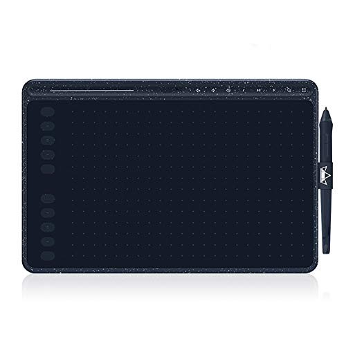 LIPETLI Tableta de Dibujo Hs611 Tableta GráFica sin BateríA Soporte de InclinacióN de Tres Colores Barra TáCtil y Teclas Express,Azul
