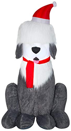 Gemmy Christmas Airblown Inflatable Mixed Media Sheep Dog, 7 ft Tall, Multicolored