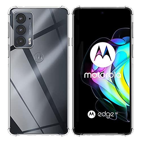 TUTUO Hülle Kompatibel mit Motorola Moto Edge 20 5G, [Crystal Clear, Vergilbungsfrei] Slim Weiche Silikon Handyhülle, Fallschutz, Stoßdämpfende Anti-Kratzt Soft TPU Schutzhülle - Transparent