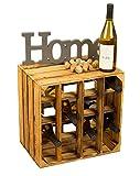Geflammtes Weinregal für bis zu 16 Flaschen 40x40x27 cm Kistenkolli Altes Land Wein Regal |...