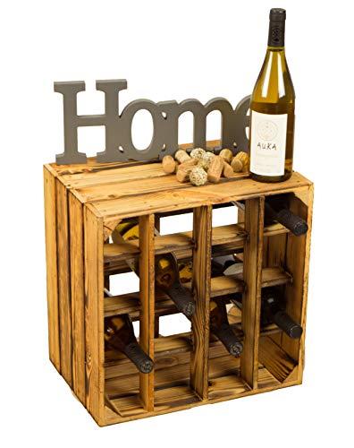 Geflammtes Weinregal für bis zu 16 Flaschen 40x40x27 cm Kistenkolli Altes Land Wein Regal | Flaschenregal