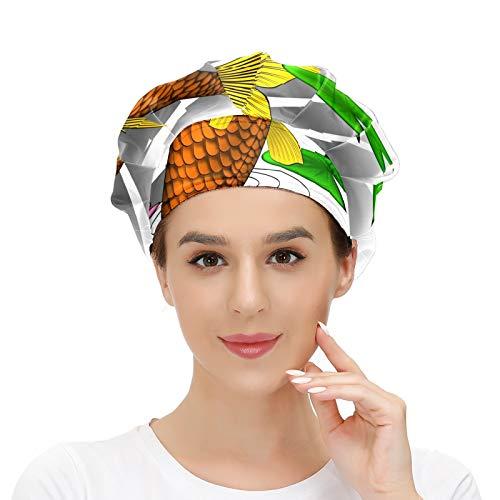 Gorra de trabajo para el pelo largo con banda elástica ajustable gorras de trabajo para los hombres de trabajo bufanda 3D impresa sombreros carpa lirio de agua estanque tatuaje