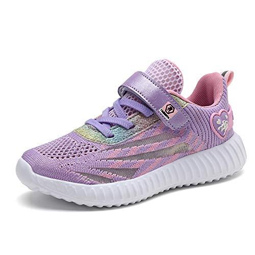 Minbei Unisex Kinder Hallenschuhe Girls Sneakers Atmungsaktive Sportschuhe Laufschuhe Mädchen Leichte Turnschuhe Violett 34 EU