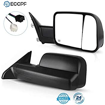 SCITOO Tow Mirrors fit 09-15 Dodge Ram 1500 2500 3500 Black Pair Rearview Mirrors with Manual Flip-Up Folding Scitoo Towing Mirrors