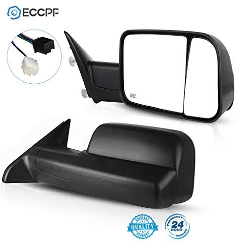 ECCPP Towing Mirrors Replacement fit for 2009-15 Ram 1500 Pickup Side View Power Heated Towing Manual Flip Up Black Mirrors
