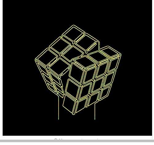 Led diseño innovador en 3D Visual Rubik'S Cube Modelado Luces de la noche 7 Colorido Usb Botón táctil Lámpara de escritorio Creative Kids Toy Light Box del regalo del día de los niños