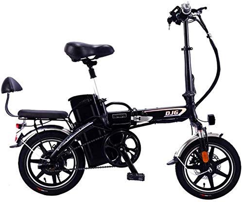 Bicicleta, bicicletas eléctricas rápidas para adultos 48V Bicicleta plegable eléctrica para hombres y mujeres, con motor de 350W, bicicleta eléctrica de 14 pulgadas para niños con función de carga USB
