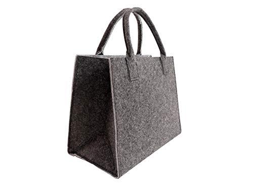 CB Home & Style Filztasche Einkaufstasche Tasche Shopper ca. 35 x 20 x 28 cm (Antrahzit-Grün)