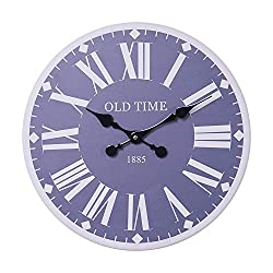 RiteSune Silent Wall Clock Decorative, 15 Inches Round Wooden Wall Clocks for Living Room Home Office