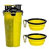 Czemo Botella de Agua para Perro Portatil Envase de Comida para Perros con 2 Plegable Tazones para Perros Gatos Mascotas Adecuado para al Aire Libre Caminar Viajar (Amarillo)