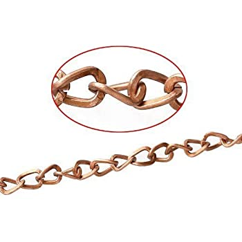 CH1340 Charming Beads Continuous Length 4 Metres Red Copper Plated Alloy 6x8mm Cable Chain