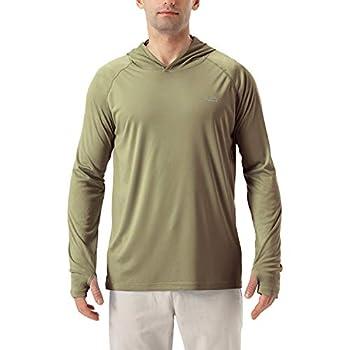 Men s UPF 50+ UV Sun Protection Hoodie Long Sleeve Rash Guard Hiking Fishing Swim T Shirt  Brown XXXL