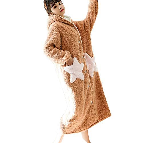JIN Bata de Damas Bata de Franela Linda Albornoz con Capucha Soft Coral Velvet Thickening Long Loungewear Regalo para Mujeres y niñas,H-M