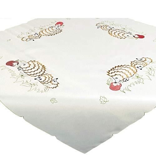 Tischdecke Mitteldecke Igel, 85x85 cm, aufwändig Bestickt, passend zum Herbst