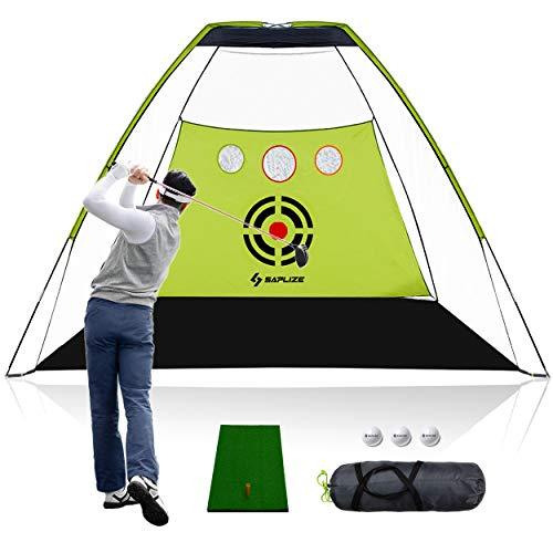 SAPLIZE Red de Golf para Entrenamiento, Redes de práctica con Orificios de astillado, tapete para Golpear 6 Bolas de Espuma y Bolsa de Transporte para Objetivos para Entrenamiento al Aire Libre