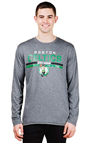 Ultra Game NBA Boston Celtics Mens Active Long Sleeve Tee Shirt, Charcoal Heather, Medium