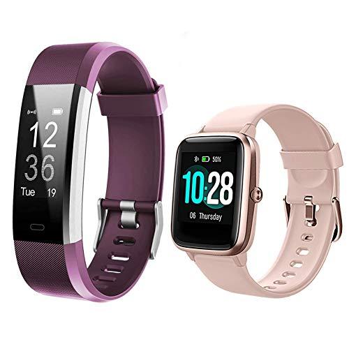 Lintelek Fitness Tracker ID115Plus HR,Bundle with Smart Watch ID205L (2 Items)