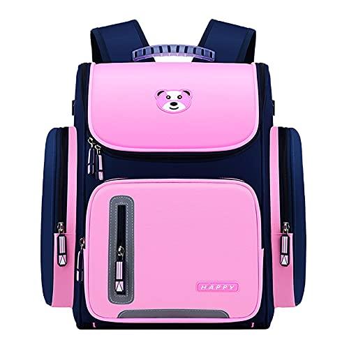 ANEWSIR Mochila infantil casual rosa mochila escolar para niños y niñas, bolsa de viaje impermeable con estuche y 50 pegatinas de dibujos animados