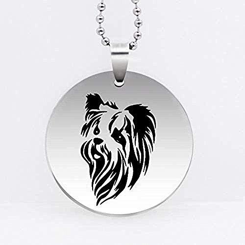 ZGYFJCH Co.,ltd Collar Lindo Collar con Colgante de Perro de Acero Inoxidable Yorkshire Terrier Collar de Perro Mascota joyería Collar Regalo